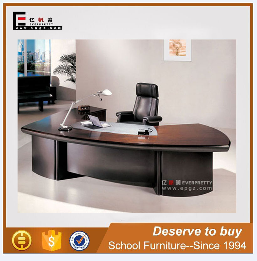 2016 Long Front Office Table Design of Wooden Veneer Cover