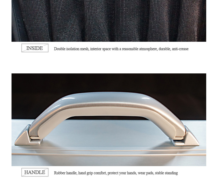 Aluminum brief case with lock shoulder strape lining customize