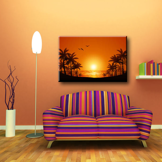 Seagull coconut tree and sunset glow natural scenery canvas wall painting