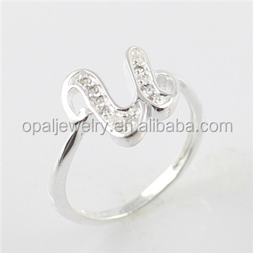 Alibaba Letter <strong>U</strong> Shaped Clear Topaz Micropaved 925 Sterling Silver Wholesale Silver Ring
