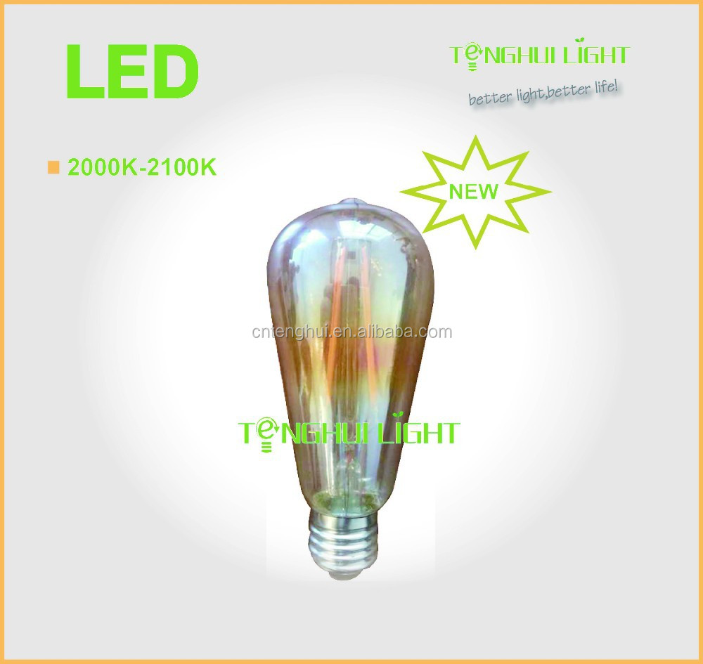 new 2000-2200K ST64/57 led filament bulb,6W 360degree/b22/E27 led filament lamp,