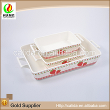Different size strawberry decal bamboo the rectangular baking tray eco-friendly porcelain ceramic cooking pot set