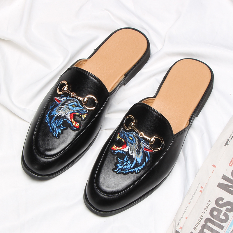 2019 new arrival slip on half slippers driving dress black casual leather shoes men loafers