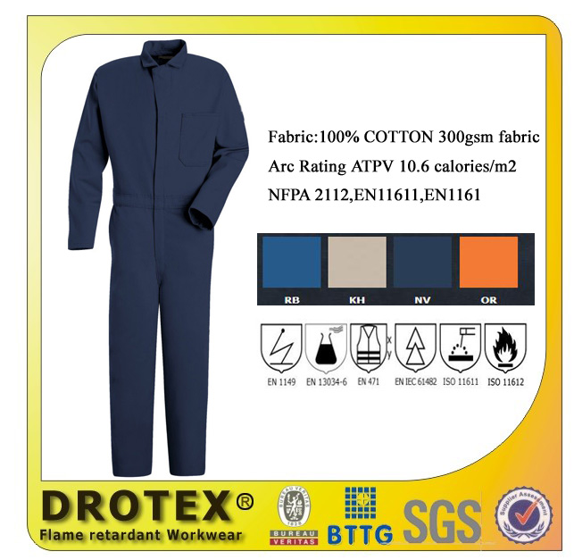 100% cotton flame retaradnt protective coveralls and overalls
