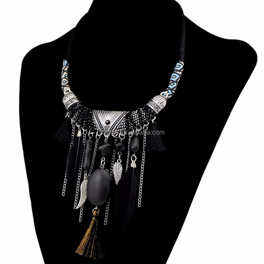 Handicraft Bohemia Long Ethnic Tribal Boho Beads Fringe Feather Beaded Tassel Weave Rope Charm Necklace Collar Jewelry