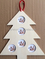 wooden hanging type photo frame pine tree shape family photo frame