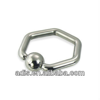 hexagon captive bead ring 12ga,ball closure ring BCR
