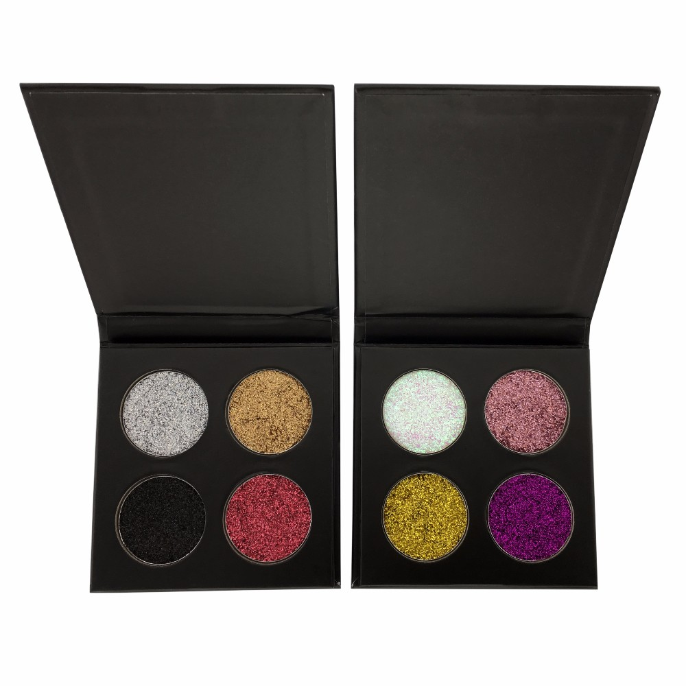 Customized logo 4 color makeup eyeshadow palette diamond shiny eyeshadow with cardboaed packaging