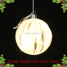Simple clear led light glass ball hanging christmas tree decoration