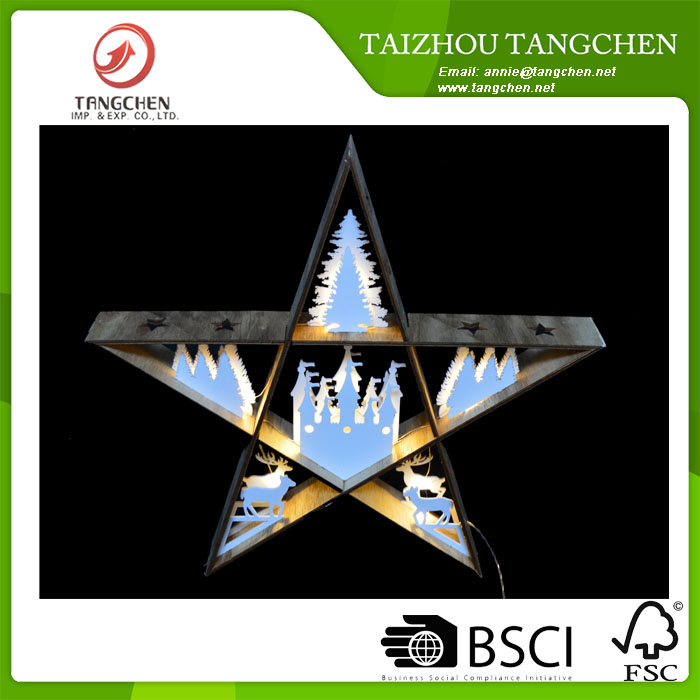 ROHS,CE Wooden star with LED light