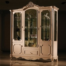 living room cabinet white 3 doors tall glass wine cabinet