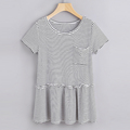 clothing wholesaler chest pocket striped ruffle hem t shirt for women casual