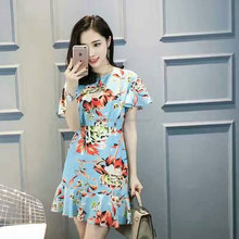2017 Summer Wear Skyblue Ladies Fashionable Printed Foral Sexy Club Western Wear