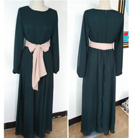 Long sleeve muslim dress for woman,chiffon maxi dress with belt