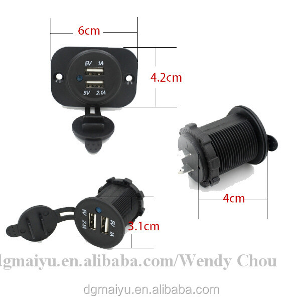 HOT! Waterproof USB Charger Adapter Socket 12-24V Outlet Power Jack Marine Motorcycles with usb ports !