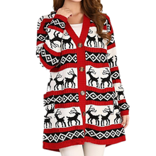 High Quality Women Oversized Colorful Buttons Knit Deer Pattern Christmas Ugly Long Cardigan Sweater