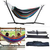 Outdoor Huge Double Cotton Hammock Camping Air Chair Swinging + Heavy Duty Stand