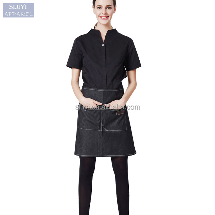 Short Sleeve Uniform Shirt White Black Work Clothing Hotel Food Shop Staff Workwear cheap Beer bar waitress uniforms