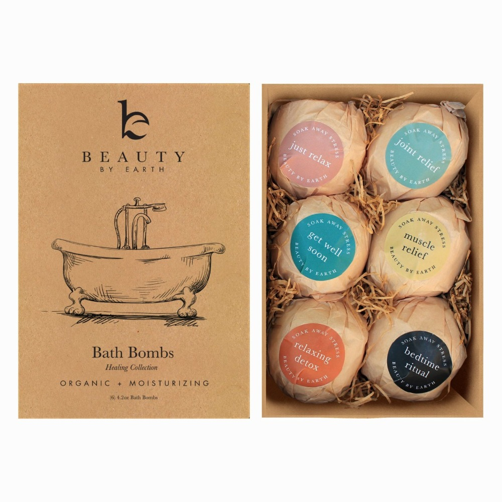 Premium Bath Bombs Gift Set -6 Pack of Assorted Spa Bath Fizzies with Organic & Natural Ingredients for Moisturzing-338014