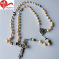 Factory free simple christian cheap glass rosary beads centerpieces