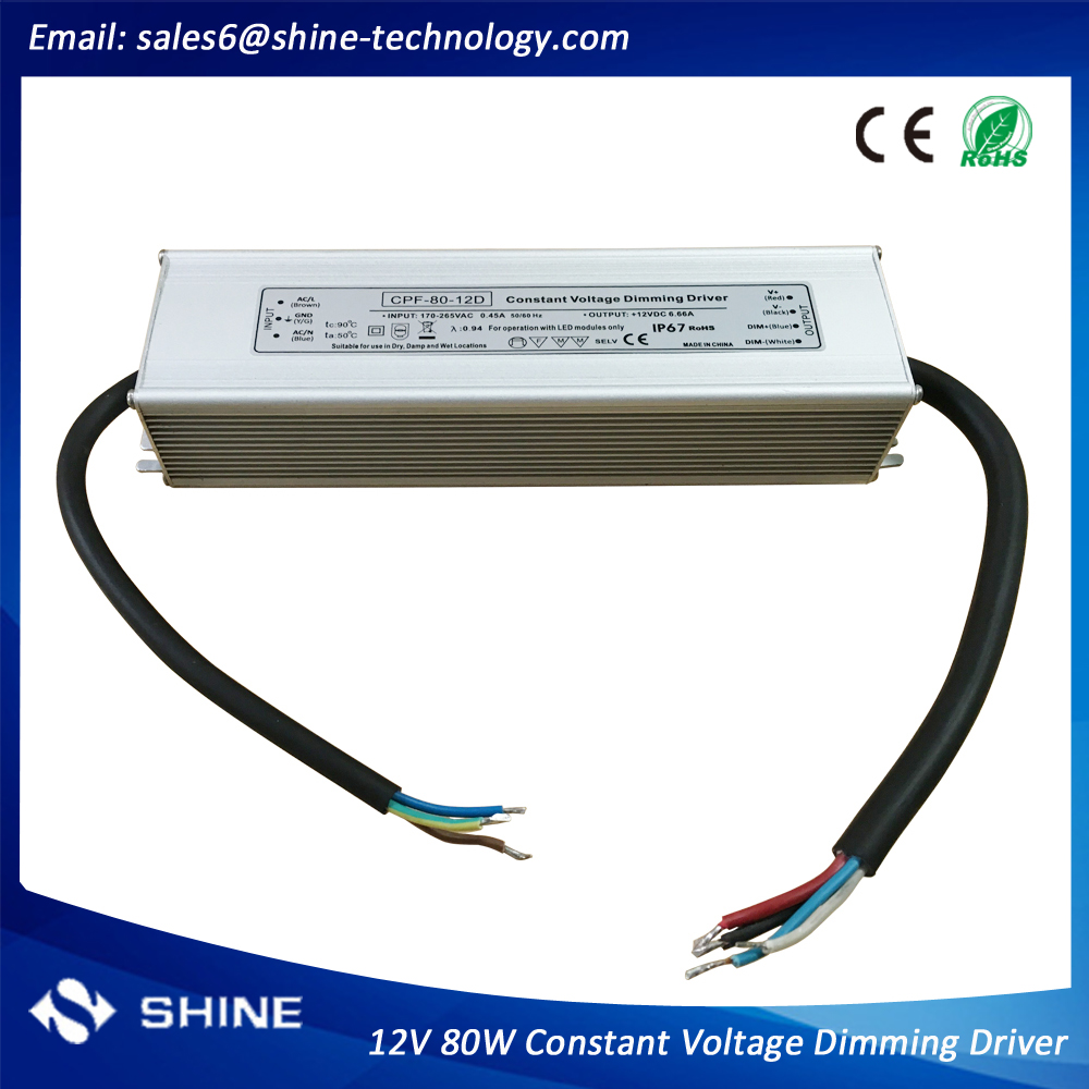 0-10v dimmable led strip driver 12v 80w, waterproof dimmable electronic transformer