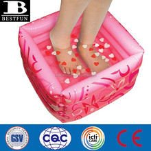 inflatable pedicure pool plastic travle foot bath foldable foot sap tub massage tub