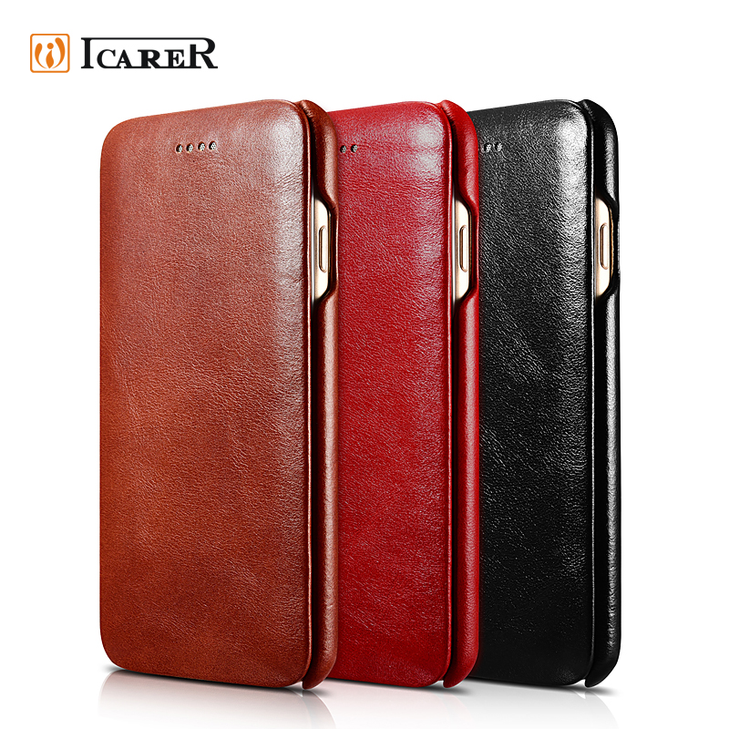 ICARER Vintage Leather Case For Iphone 7, Folio Leather Case