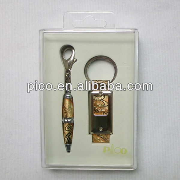 New Design Best Selling Leather Mini Pen And Keychain Set For Promotiton