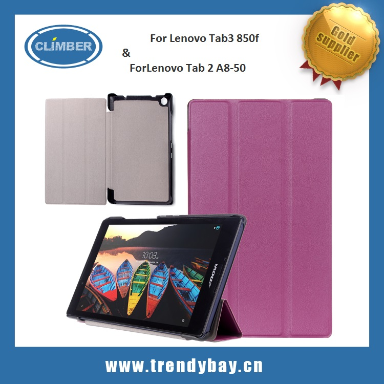 Booklet flip over for lenovo tab 2 a8-50 leather case for lenovo tab3 850F