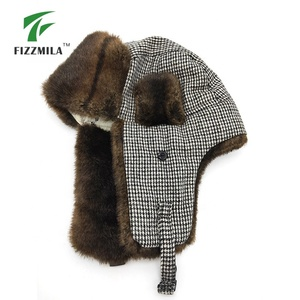 Custom adjustable russian fur winter hat with earflap