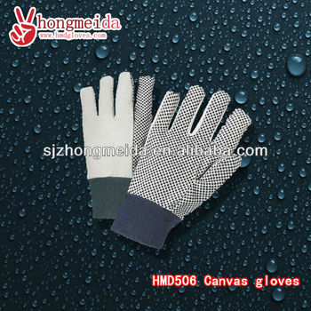 Canvas dotted Work Gloves Insulated Work Gloves Canvas Gloves with Plastic Dots