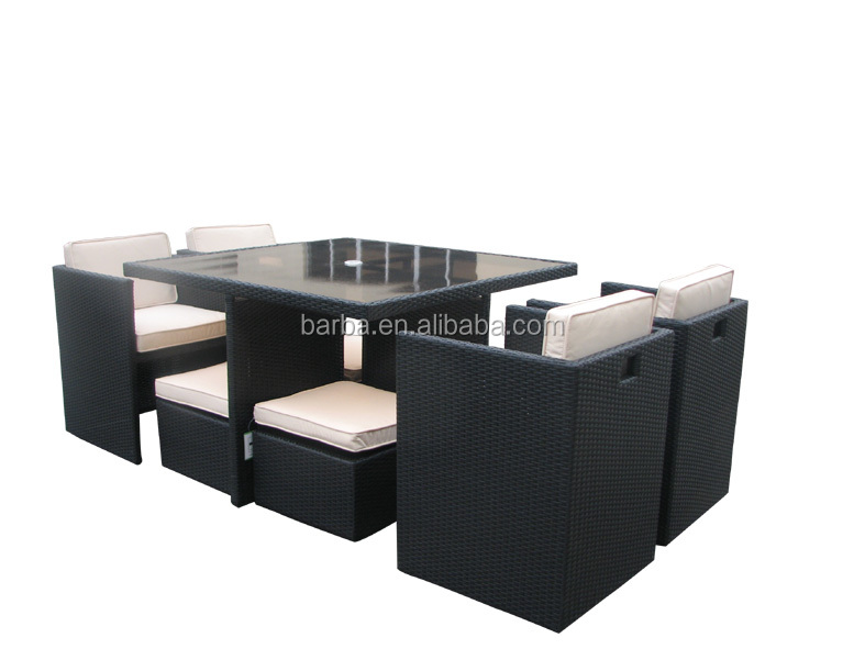 9 Pc Modern Indoor/Outdoor All Weather PE Wicker Rattan Table Patio Set Gardern Furniture Dining Sets