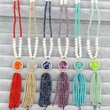 CH-LSN0133 Handmade colorful tassel necklace with cubic zircon micro pave cz necklace wholesale gemstone women necklace jewelry