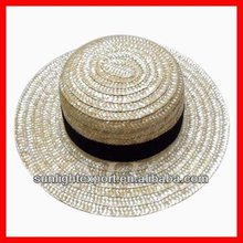 Promotion natural wheat straw boater hat with logo on the ribbon