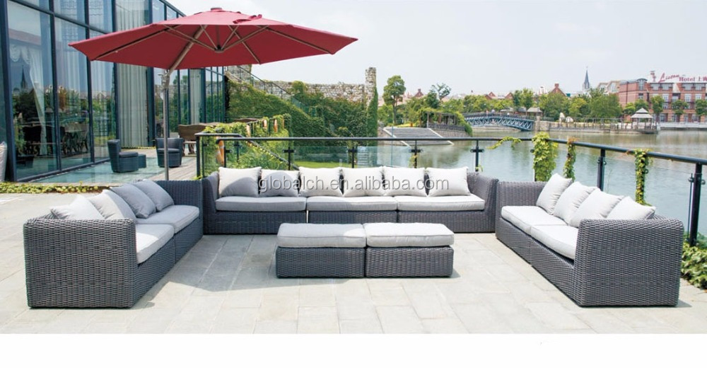 Elegant High Quality Outdoor Rattan Wicker Garden Furniture Half Round Sectional Sofa