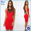 Sexy Women Fashion Bodycon Party Dress Sexy Mesh Deep V Neck Sleeveless Night Club Bandage Dress