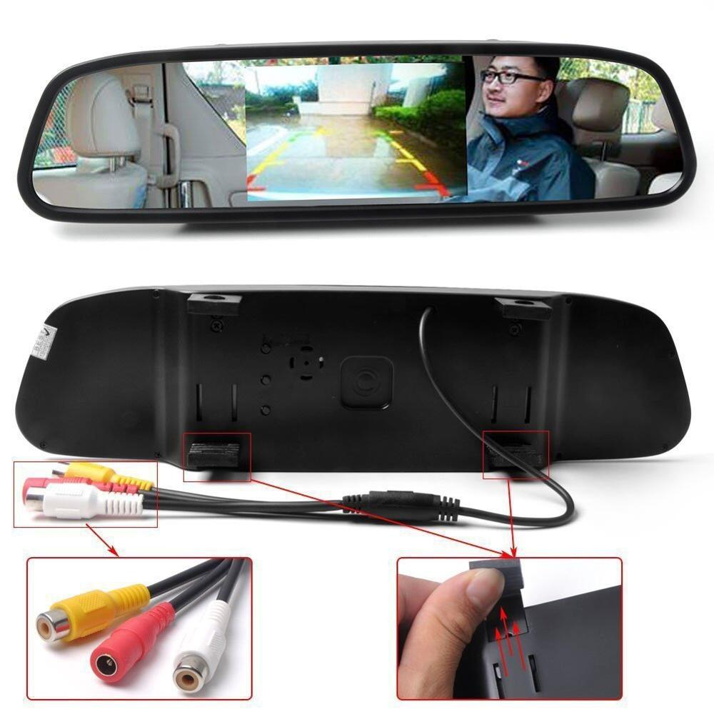 "Super Mini Backup Camera com 4.3 ""Car TFT LCD Espelho Monitor, Night Vision Waterproof Camera"