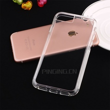 Clear Crystal Rubber PC Back TPU Bumper Hybrid Case For iPhone 7