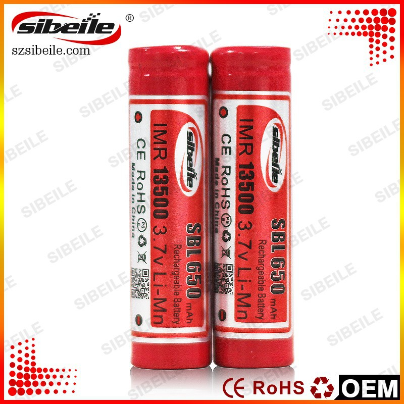 650mAh 3.7v battery Sibeile 13500 battery Special design for e-cigarette 3.7v/1.5v rechargeable battery