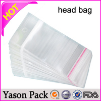 YASON opp plastic header bags glue tape printed bopp bags with header and euro hole colorful printing opp header bags with hand