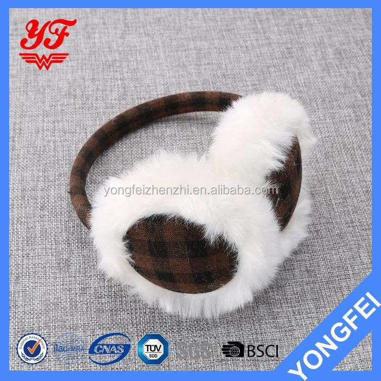 Modern style excellent quality super adorable winter knit warm plush earmuffs with many colors