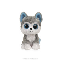 Hot selling cheap cute big eye grey stuffed plush dog toys,kids plush dog toys