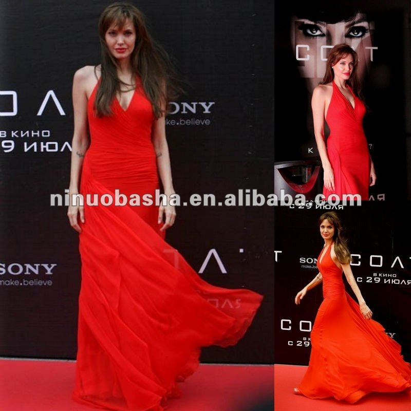 Stunning Halter Celebrity Red Carpet Dress