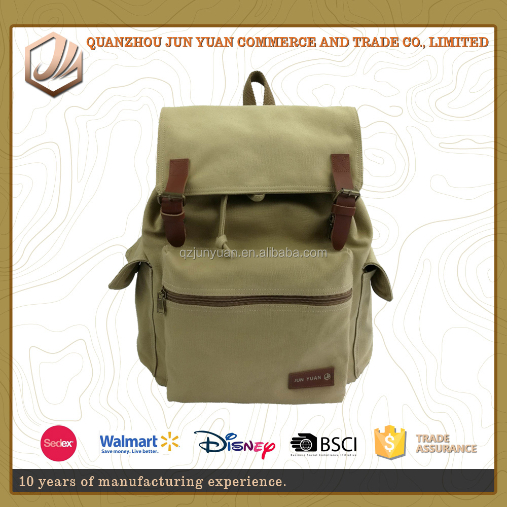 1963 Vintage Style Travel Canvas Drawstring Back Bag for Men Backbag