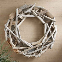 Hand Pieced Driftwood Christmas Wreath Hang Indoors or Out