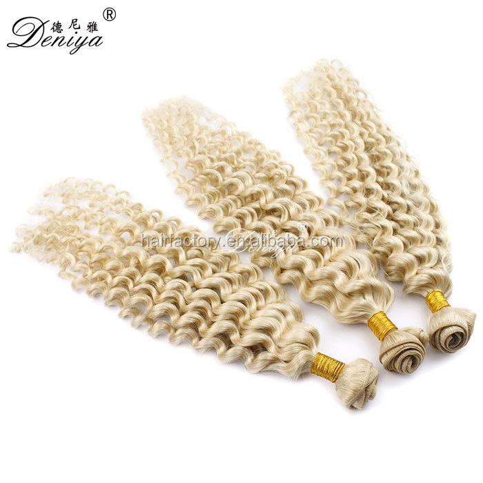 Hot selling blonde color curly 100% remy human hair weft