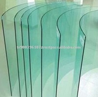 Curved glass for buildings and shower cabinet