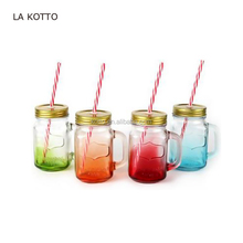Mix Colors Mason Jar Mugs with Tin Lid and Plastic Straws. 16 Oz. Each. Old Fashion Drinking Glasses