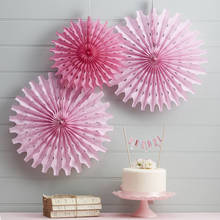 Colorful paper party fan set round paper garlands for birthday decoration