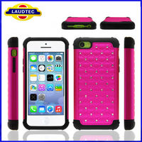 Bling hard case for iPhone 5c, pc+tpu 2 in 1 case for iphone 5 c--Laudtec